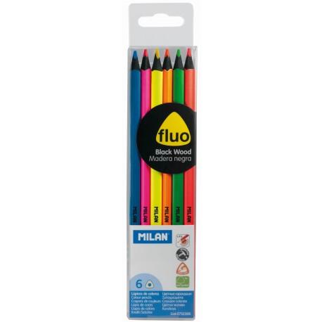 Creion color 6 culori Fluo lemn negru MILAN