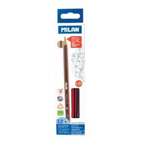 Creion grafit HB cu radiera set 12 MILAN