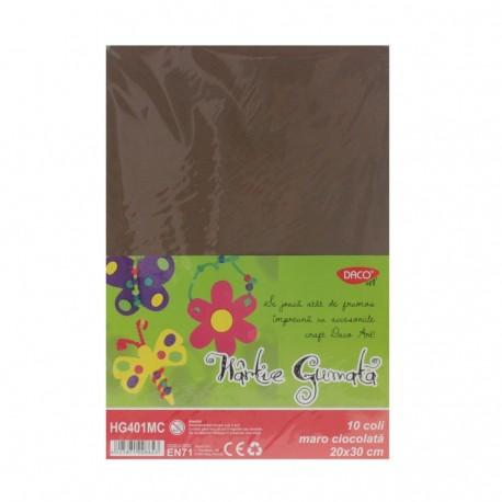 Hartie gumata 10 coli DACO maro chocolate