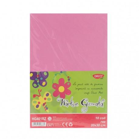 Hartie gumata 10 coli DACO roz