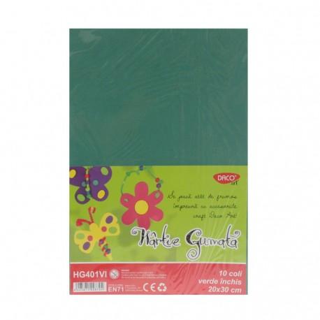 Hartie gumata 10 coli DACO verde inchis