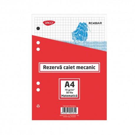 Rezerva caiet mecanic A4 50 file AR DACO