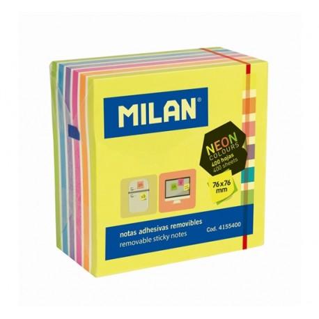 Bloc notes adeziv cub 76X76 7 culori neon MILAN