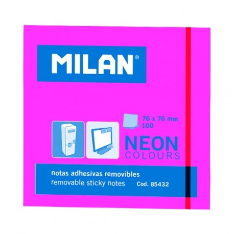 Bloc notes adeziv 76 x 76 Roz neon MILAN