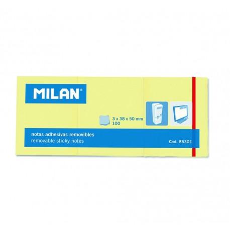 Bloc notes adeziv 3 x 38 x 50 galben pal MILAN