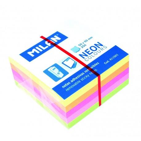 Bloc notes adeziv cub 50 x 50 5 culori neon MILAN